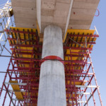 Concrete constructing bridge